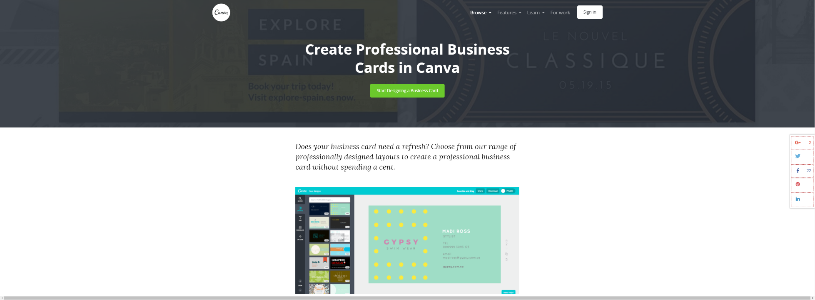 Top 10 best business card design software 2018 1 smb reviews custom business cards with canva stunning layouts and amazingly simple design interface canva reheart Images