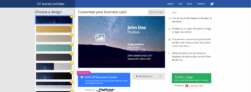 Top 10 best business card design software 2018 1 smb reviews bizcardmaker reheart Gallery
