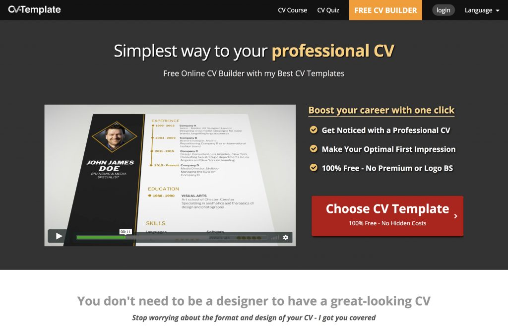 Cv Template Review How To Use Cv Template Free Online Cv Builder